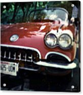 Red Corvette With Trees Acrylic Print