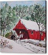 Red Covered Bridge Christmas Acrylic Print