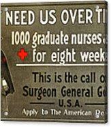 Red Cross Poster, C1914 Acrylic Print