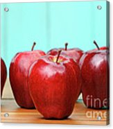 Red Delicious Apples On Old School Desk Acrylic Print