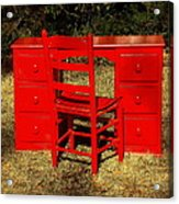 Red Desk And Chair Acrylic Print