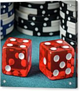 Red Dice And Playing Chips Acrylic Print