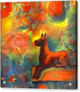 Red Dog In The Garden 2 Acrylic Print by Nato  Gomes