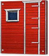 Red Door And Window With White Frames - Acrylic Print