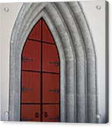 Red Door At Our Lady Of The Atonement Acrylic Print