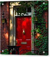 Red Door In Chicago Acrylic Print