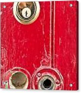Red Door Lock Acrylic Print by Tom Gowanlock