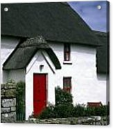 Red Door Thatched Roof Acrylic Print