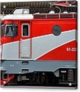 Red Electric Train Locomotive Bucharest Romania Acrylic Print
