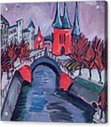 Red Elisabeth Riverbank Berlin Acrylic Print