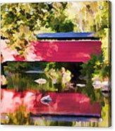Red Fairhill Covered Bridge Acrylic Print