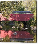 Red Fairhill Covered Bridge Two Acrylic Print