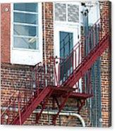 Red Fire Escape Usa II Acrylic Print
