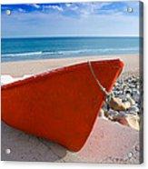 Red Fishing Boat Algarve Portugal Acrylic Print