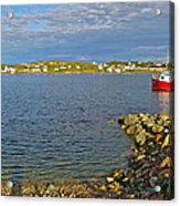 Red Fishing Boat In Twillingate Harbour-nl Acrylic Print