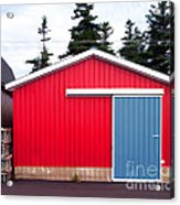 Red Fishing Shack Pei Acrylic Print by Edward Fielding