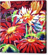 Red Floral Mishmash Acrylic Print