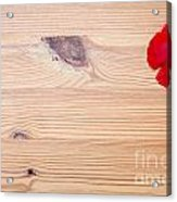 Red Flower On Wood  Acrylic Print