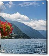 Red Flowers By Lake Como Italy Acrylic Print by Anna-Mari West