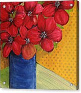 Red Flowers In A Blue Vase Acrylic Print