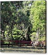 Red Footbridge Over Green Water Acrylic Print