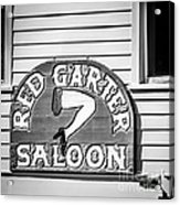 Red Garter Key West - Square - Black And White Acrylic Print