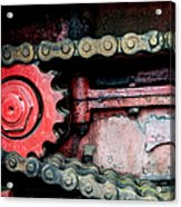Red Gear Wheel And Chain Of Old Locomotive Acrylic Print by Matthias Hauser