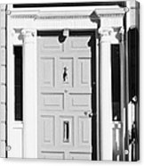Red Georgian Door With Brass Letterbox Door Knob And Knocker In Dublin Acrylic Print
