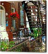 Red Geraniums Verdun Winding Staircases Hanging Flower Basket Montreal Porch Scene Carole Spandau Acrylic Print