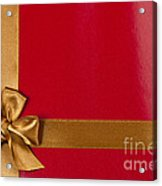 Red Gift Background With Gold Ribbon Acrylic Print