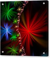 Red Green And Blue Fractal Stars Acrylic Print