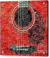 Red Guitar Center - Digital Painting - Music Acrylic Print