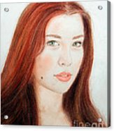 Red Hair And Blue Eyed Beauty With A Beauty Mark Acrylic Print