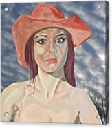 Red Hat Girl  Acrylic Print by Roger Medcalf