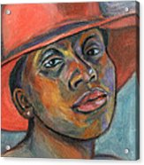 Red Hat Lady Acrylic Print