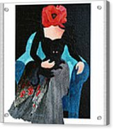 Red Head With Black Cat Acrylic Print by Eve Riser Roberts