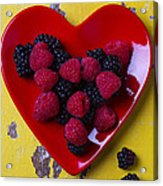 Red Heart Dish And Raspberries Acrylic Print