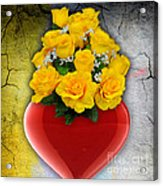 Red Heart Vase With Yellow Roses Acrylic Print