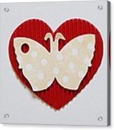 Red Heart With Butterfly Acrylic Print