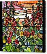 Stained Glass Tiffany Red Hollyhocks In Landscape In Watercolor Acrylic Print