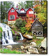 Red House By The Waterfall Acrylic Print