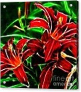 Red Lilies Expressive Brushstrokes Acrylic Print