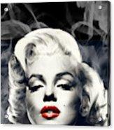 Red Lips Marilyn In Smoke Acrylic Print