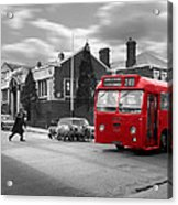 Red Midland Bus And Sheep - 1960's    Ref-126 Acrylic Print