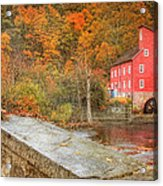 Red Mill With Texture Acrylic Print