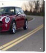 Red Mini-cooper Car On Road Acrylic Print