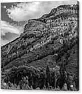 Red Mountain Cliffs In Black And White Acrylic Print
