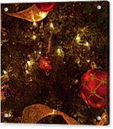 Red Ornament And Gold Ribbon Acrylic Print