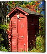 Red Outhouse Acrylic Print by Paul Ward