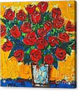 Red Passion Roses Acrylic Print by Ana Maria Edulescu
